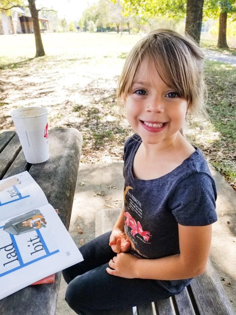 homeschooling abeka phonics and reading outdoors