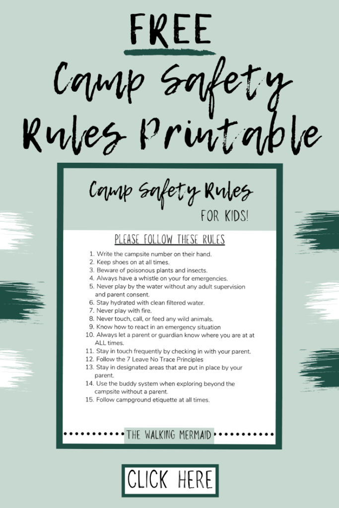Camp Safety Rules freebie for subscribers. Posted on Camping Safety Rules for Kids on The Walking Mermaid blog.