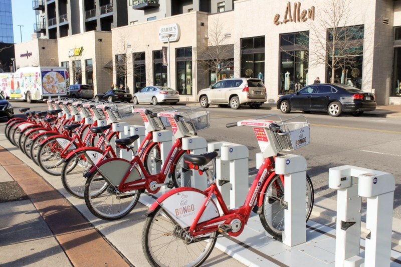 Ultimate Travel Guide To The Gulch in Nashville, Tennessee. Bikes to rent at The Gulch in Nashville.