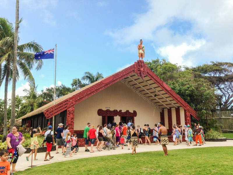 Village of Aotearoa, New Zealand. Temple at the Polynesian Cultural Center in Oahu, Hawaii.