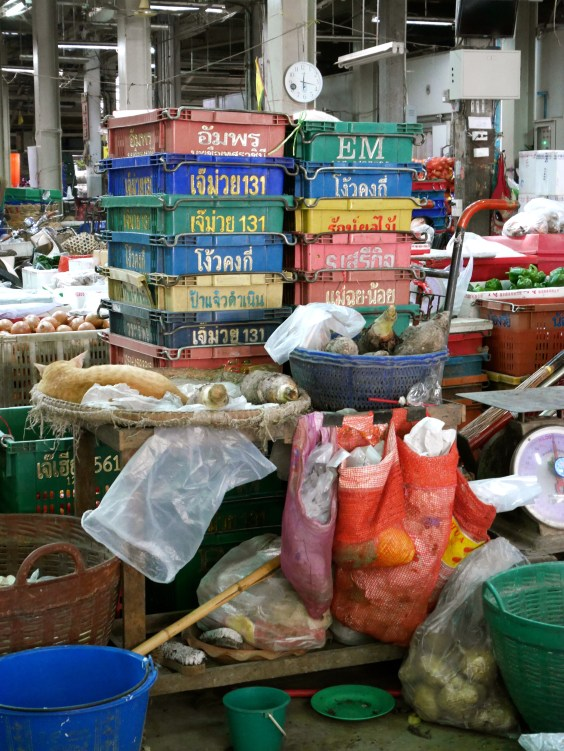Stalls and loading areas at the market in Bangkok