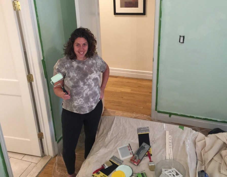 Painting the Toledano Nursery from ugly grandma mauve to a hint of mint!