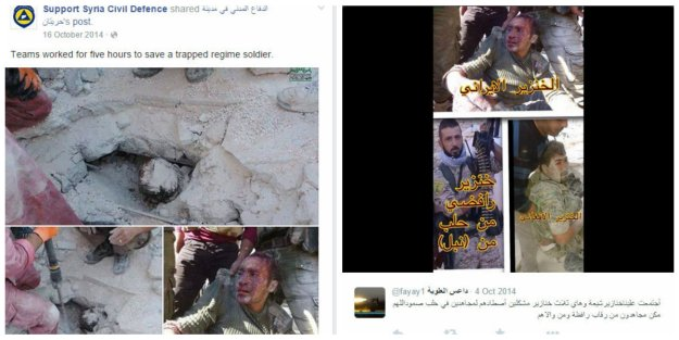 White Helmets claim to have rescued an SAA soldier who had in reality been captured by Al Nusra terrorists 10 days previously. In the Al Nusra version, this soldier is described as a