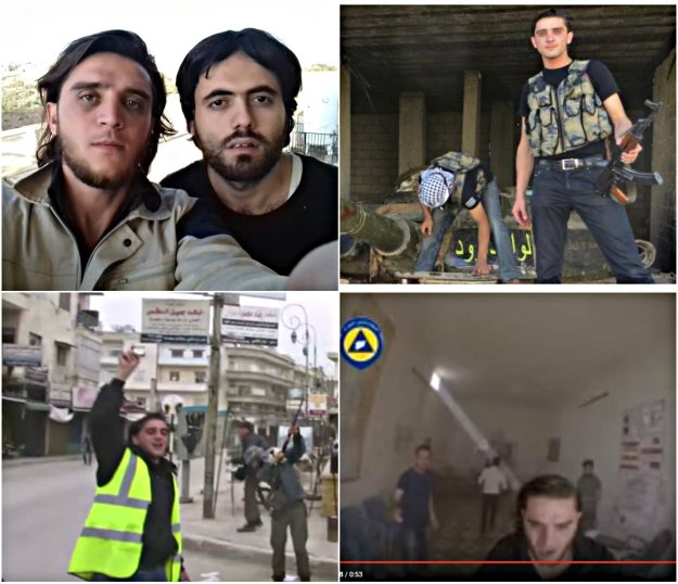Top left: Musawiya Agha Hassan in White Helmet mode. Top Right: As Al Nusra mercenary on tank in Idlib. Bottom left: celebrating with Al Nusra terrorists. Bottom right: Screen shot from alleged Russian air strike on hospital in Sharmine, Idlib.
