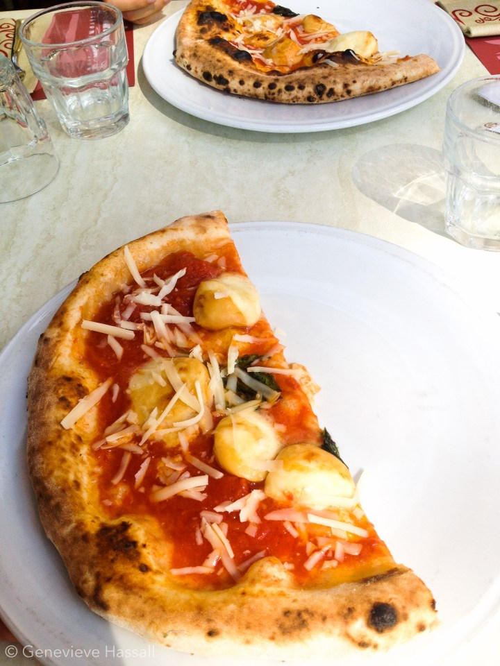 Slow food margarita pizza in Sorrento