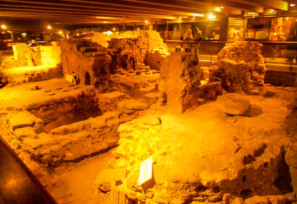 Image of Roman Ruins in Archaeological Crypt under Notre Dame Paris