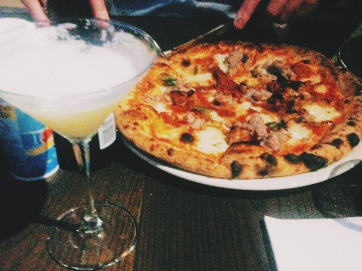 Image of pizza and cocktails at SoHo Restaurant in Southbank, Melbourne