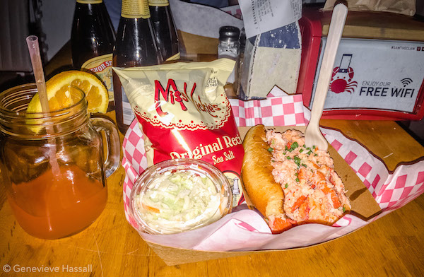 Lobster roll at North River Lobster Co Free Sunset Cruise