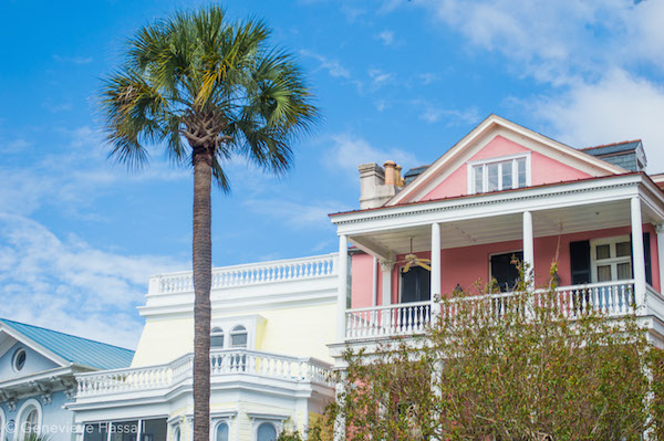 Pink Yellow Mansions in the battery charleston