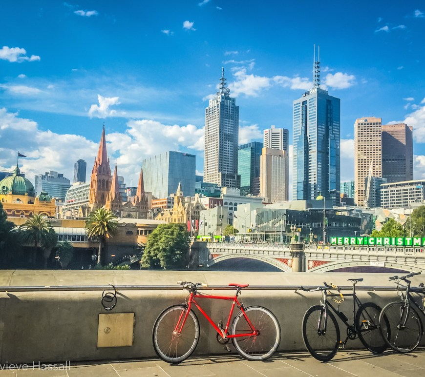 Melbourne Skyline from Southbank summer