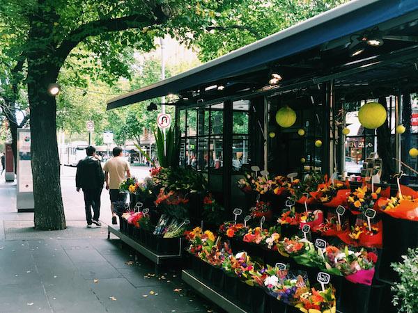 Flower Stalls Swanston St Melbourne