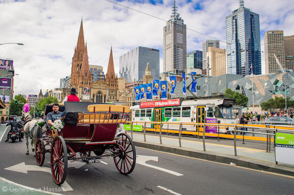 Melbourne Tram and Horse Carriage