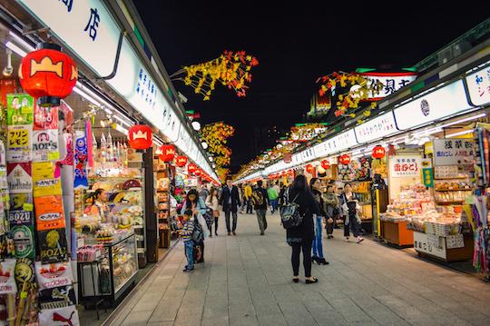 Photo of Nakamise Dori Night Markets outside Senso-Ji Temple in Asakusa, Tokyo Japan