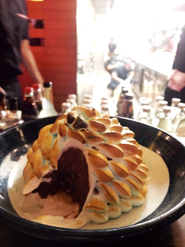Bombe Metaxa flaming dessert at Gazi, a Greek restaurant in the Melbourne CBD