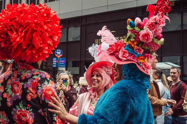 colourful bonnets at 5th avenue easter parade nyc