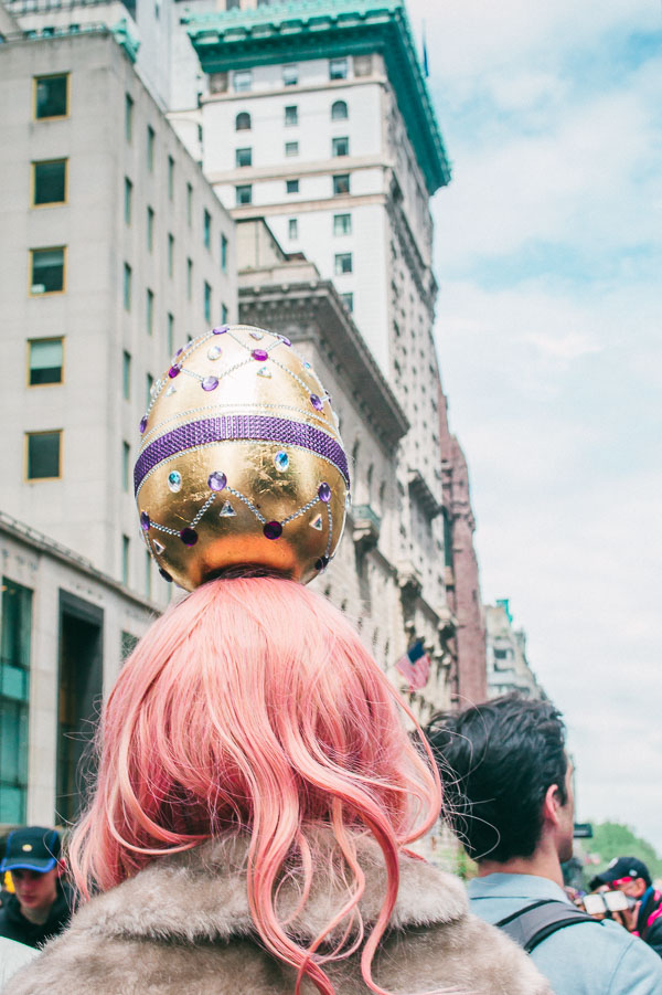 goden egg bonnet at 5th avenue easter parade nyc