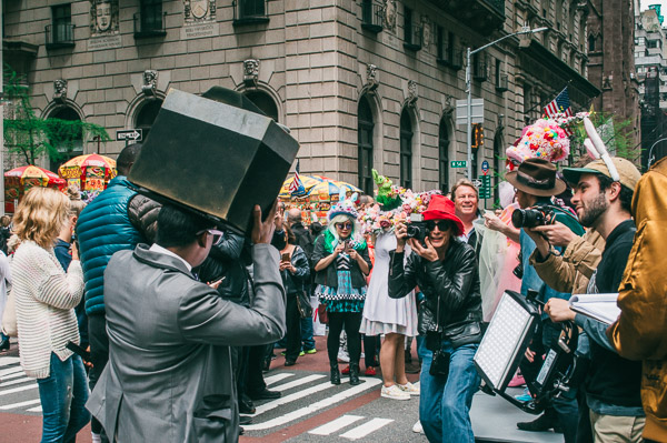 camera bonnet at 5th avenue easter parade nyc