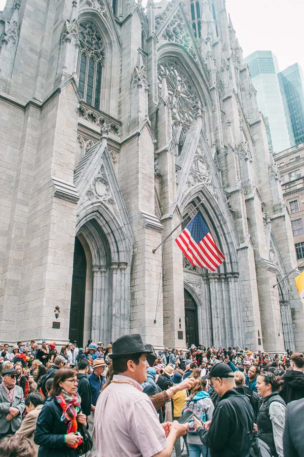 crowd outside st patricks at at 5th avenue easter parade nyc