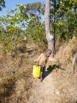 Katongo is such a strong little dude! He regularly insists on lugging heavy things for me - including this 10-liter jug of water.