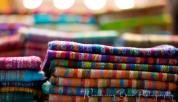 Piles of pashmina scarfs decorate the Egyptian Bazaar.