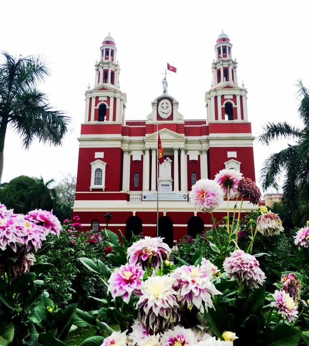 sacred heart cathedral with garden