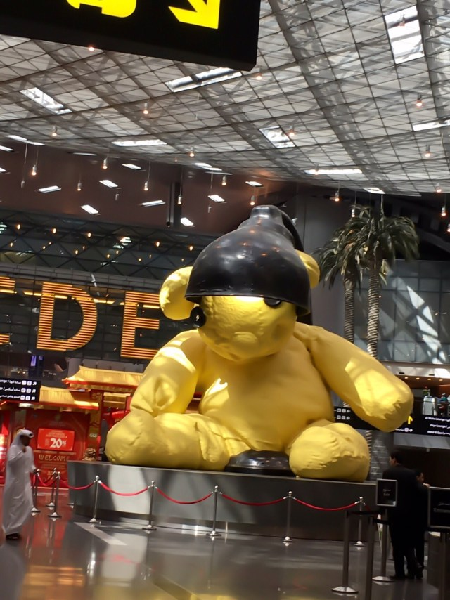 Qatar Airways Economy class review | Huge teddy at Doha Hamid International Airport