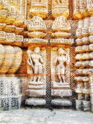 stone sculptures at Konark Sun Temple
