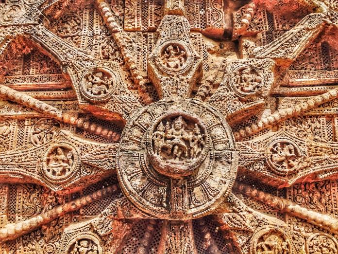 Carving at the wheel in Sun temple konark