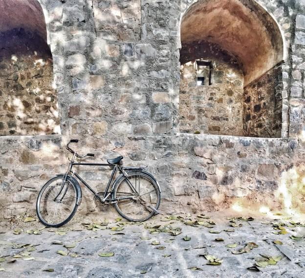 Cycle parked outside Agrasen ki Baoli Delhi India
