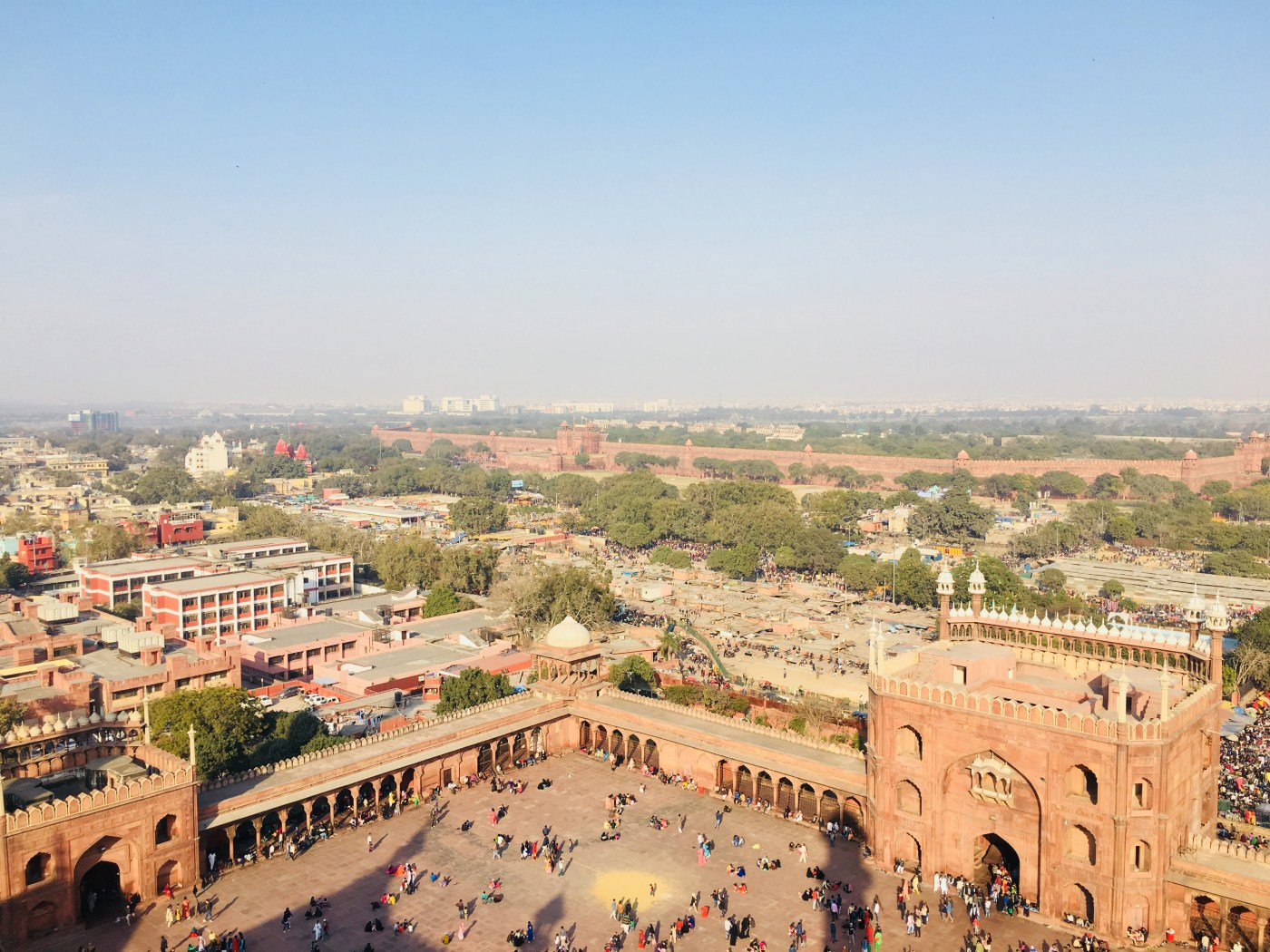 View of the courtyard from the Minaret of Jama Masjid | The largest mosque in India