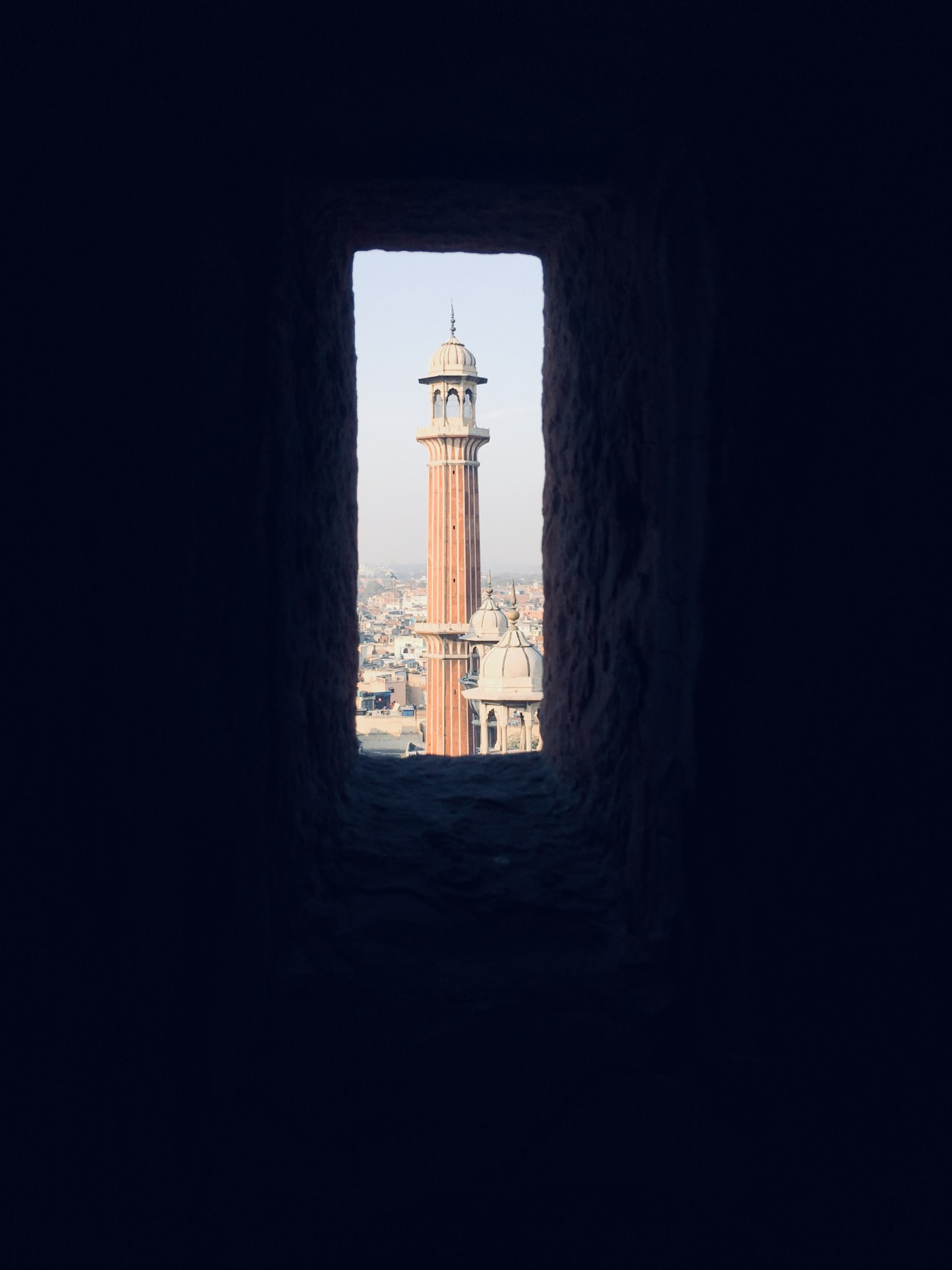 The small window in the Minaret in Jama Masjid   The largest mosque in India
