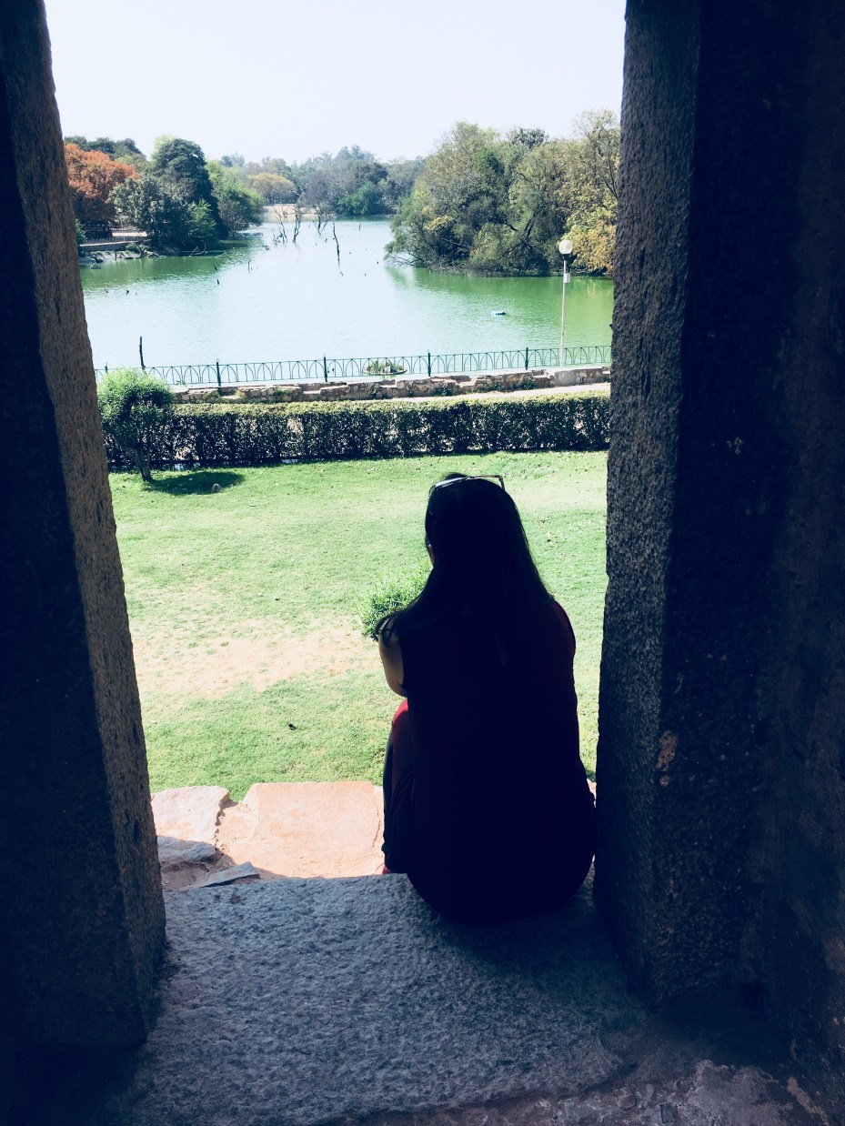 Looking at the lake at The Hauz Khas Fort