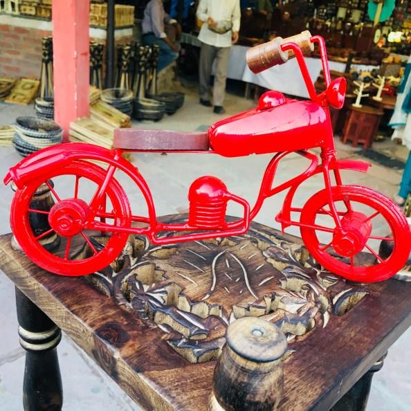 A cycle on display in Dilli Haat |  handicraft market in Delhi