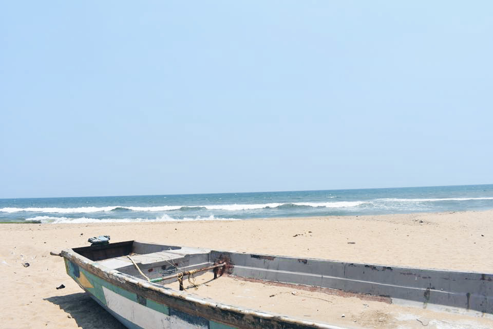 chennai marina beach with boat