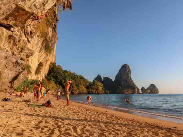 tonsai beach rock climbing krabi thailand