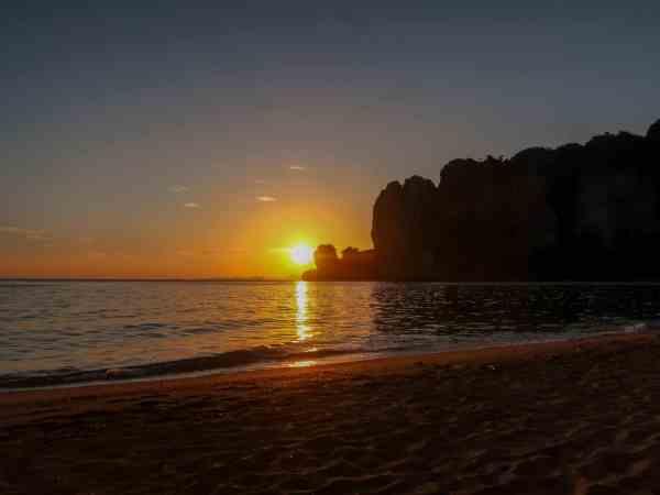 tonsai beach sunset krabi thailand
