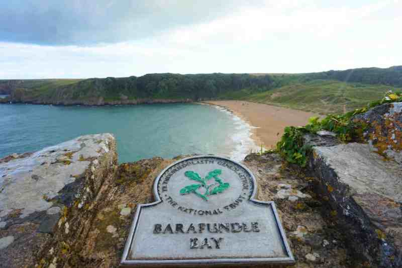 Barafundle Bay National Trust Sign