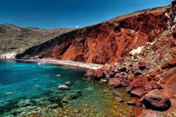 Quad Biking around Santorini Greece red beach