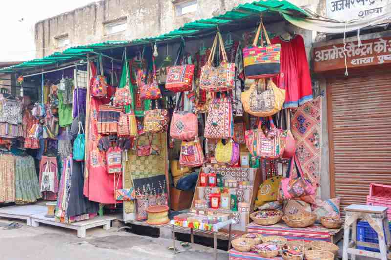 bags stall | things to do in Pushkar