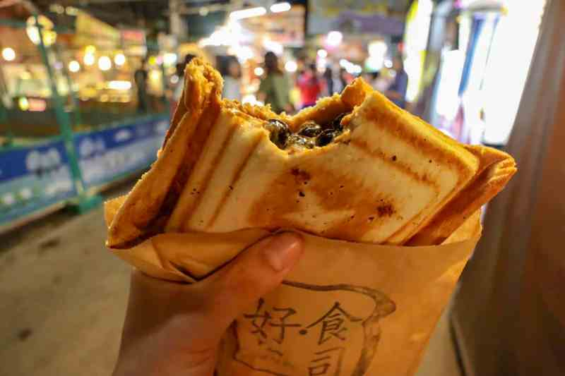 Bubble tea sandwich in Ruifeng night market food