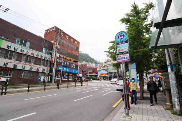 bus stop for Gamcheon Culture Village in Busan