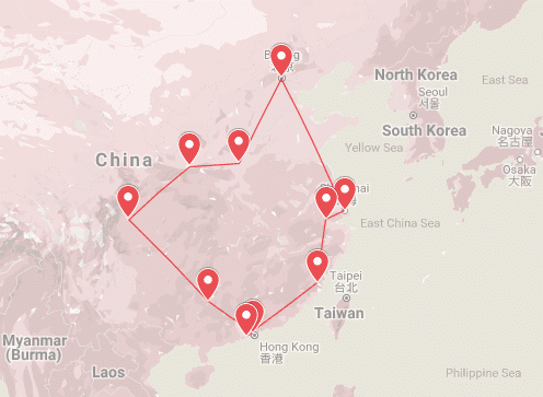 backpacking China, The Dragon Trip 25 Day China Loop Map