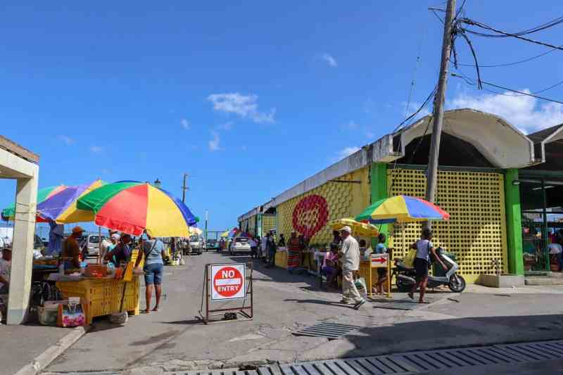 things to do in Dominica, Roseau Dominica Saturday Market Colourful stands and fresh fruit and vegetables