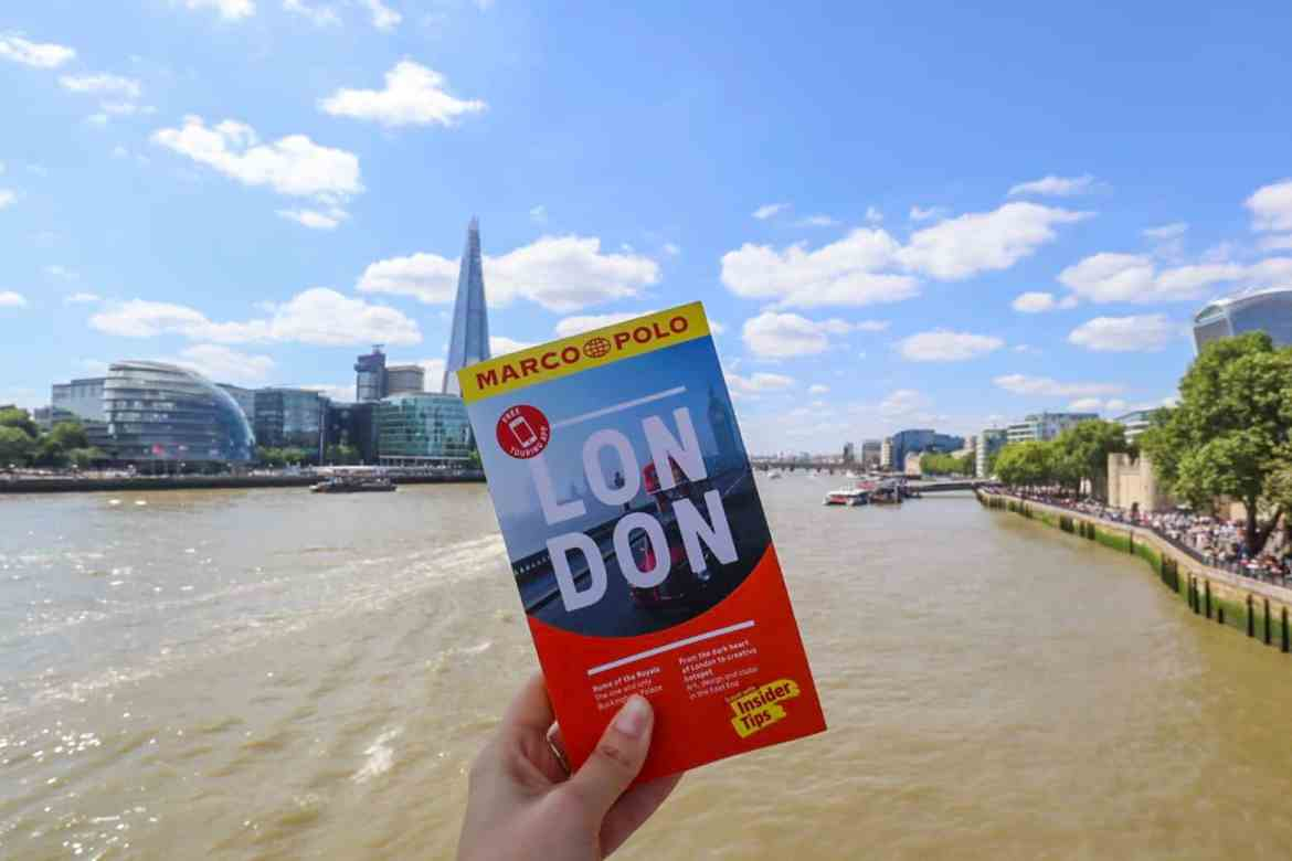 London Marco Polo Guide Book Front with River Thames and Shard Behind