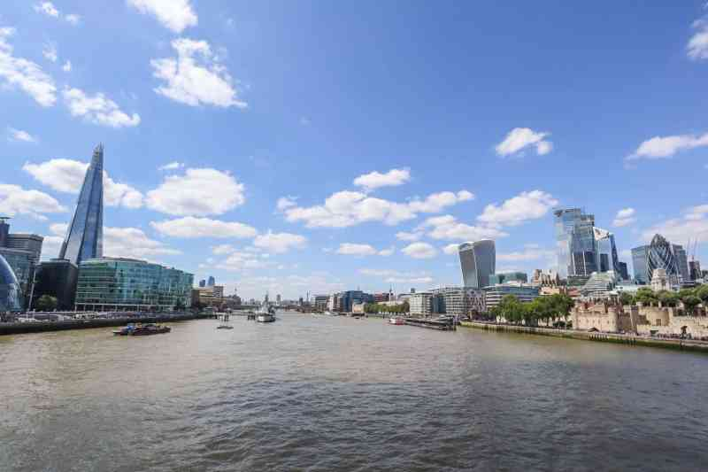 View of River Thames, Shard and City from Tower Bridge | London River Thames Walk