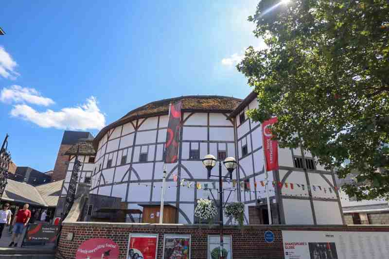 Shakespears Globe from the outside with blue sky | London River Thames Walk