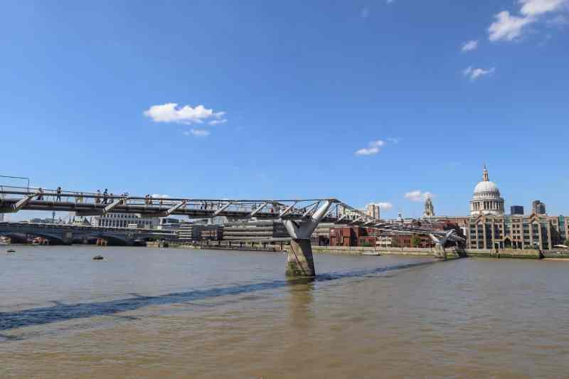 Millennium Bridge with St Pauls Cathedral on the right | London River Thames Walk