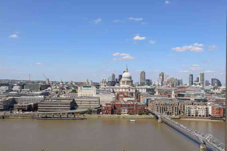 View over River Thames and St Pauls Cathedral from Tate Modern Viewpoint | London River Thames Walk