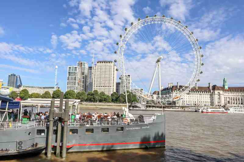 Tattershall Boat Pub on River Thames with London Eye behind | London River Thames Walk