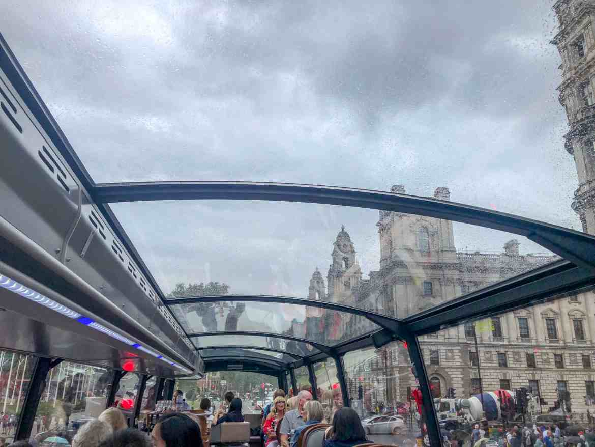 panoramic terrace in the rain on the bustronome bus london